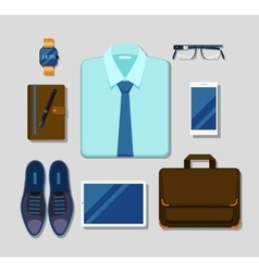 Modern businessman gadgets and accessories outfit vector
