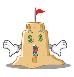 Money eye sandcastle character cartoon style vector