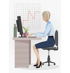 Office woman vector image