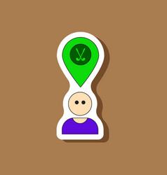 Paper sticker on stylish background golfer logo vector