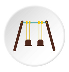 Playground swings icon circle vector
