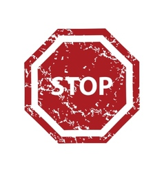 Red grunge stop logo vector image
