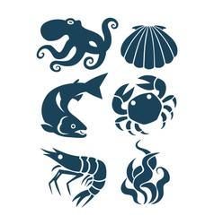 sea life and food icons vector image