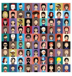 Set of people icons in flat style with faces vector image