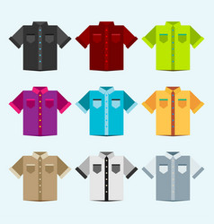 shirts colored templates for your design in flat vector image