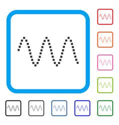 Sinusoid waves framed icon vector