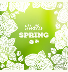 Spring card with orchid flowers and blurred vector