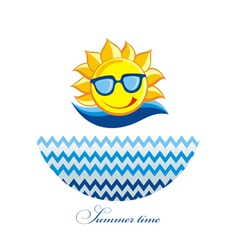 Summer sun face with sunglasses and happy smile vector