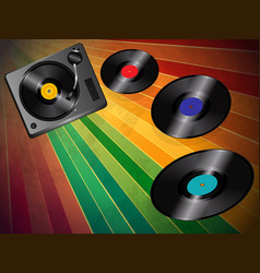 turnable and vinyls over vintage background vector image vector image