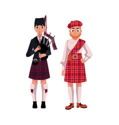 Two scottish men in national clothes tartan beret vector