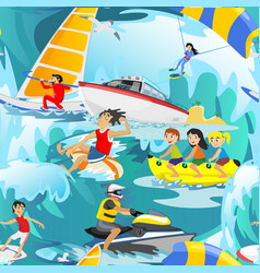 Water extreme sports seamless patterns design vector