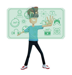 Young man virtual reality wearing headset device vector