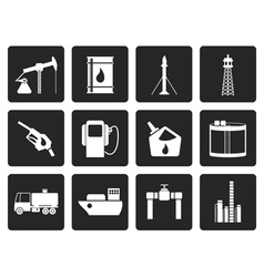 Black oil and petrol industry icons vector
