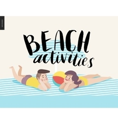 Beach activities calligraphy with sunbathing young vector