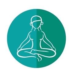 Woman silhouette yoga lotus pose vector