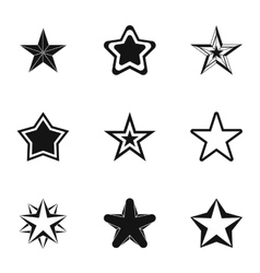 Five-pointed star icons set simple style vector