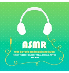 Asmr card with headphones background vector
