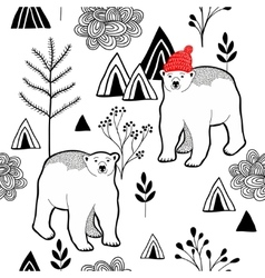 Endless pattern with polar bear in red heat in the vector