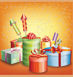 composition of gift box and elements vector image
