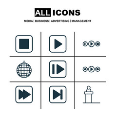 Set of 9 multimedia icons includes music control vector