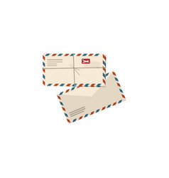 two airmail envelopes on white vector image