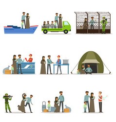stateless refugees set illigal immigrants and war vector image