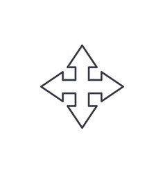 arrow cross four way thin line icon linear vector image