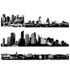 Black and white panorama cities art vector image