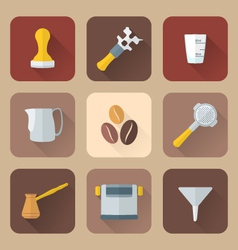 Flat style coffee barista instruments icons set vector