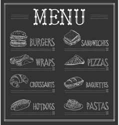 Chalkboard menu template vector