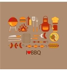 Barbecue grill party set vector