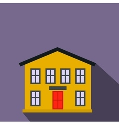 Yellow two-storey house flat icon vector