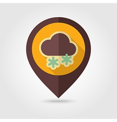 Cloud with snow retro flat pin map icon weather vector