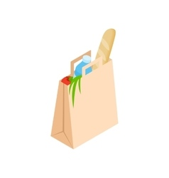 Paper bag with food icon isometric 3d style vector