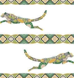 Seamless puma pattern made from flowers leaves vector