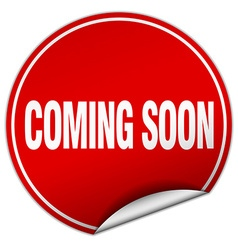 Coming soon round red sticker isolated on white vector