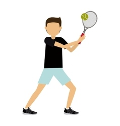 Male athlete practicing tennis isolated icon vector
