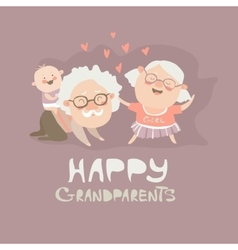 Happy grandparents playing with their grandson vector