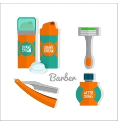 After shave flat icon set shaving razor shaving vector