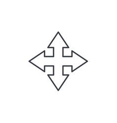 arrow cross four way thin line icon linear vector image