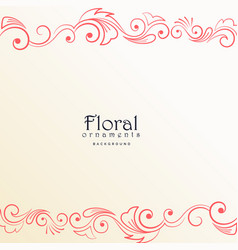 Beautiful red floral border on white background vector