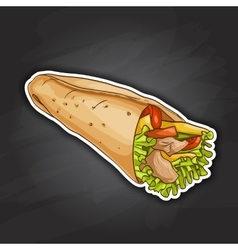 Burrito color picture sticker vector