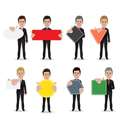 Business man holding sign vector image vector image