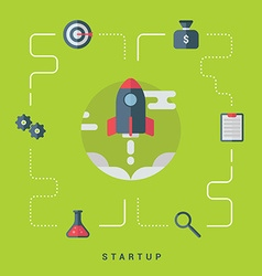 Business start up concept with rocket flat style vector