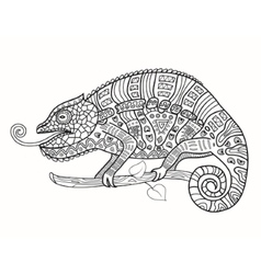Chameleon in african patterns vector