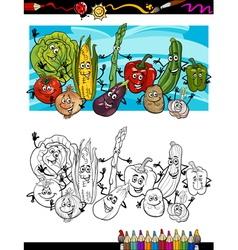 comic vegetables cartoon for coloring book vector image