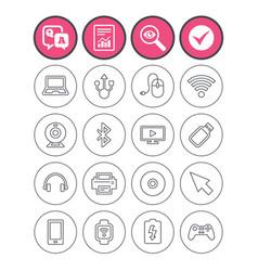 Computer elements icons notebook usb port vector