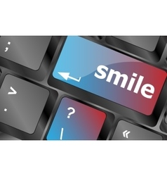 Computer keyboard with smile words on key - vector