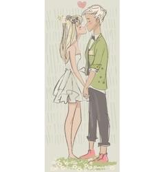 cute cartoon couple in love vector image