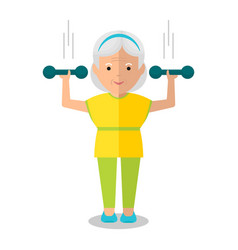 Elderly woman with dumbbells vector
